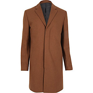 Brown smart wool blend overcoat