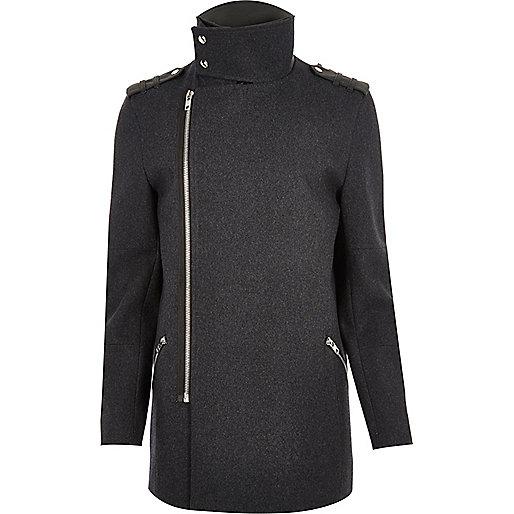 Grey wool blend smart zip jacket