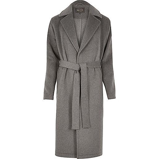Manteau drapé en laine mélangée gris