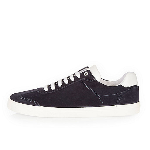 Navy suede trainers