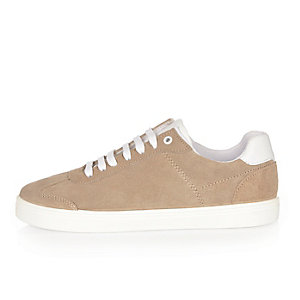 Stone suede trainers