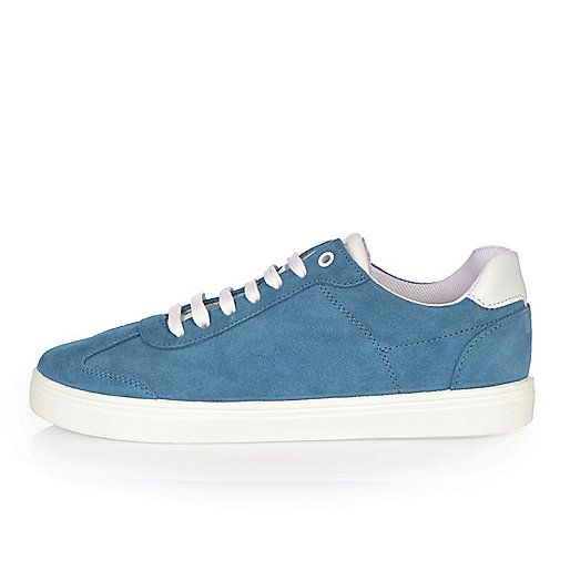 Light blue suede trainers