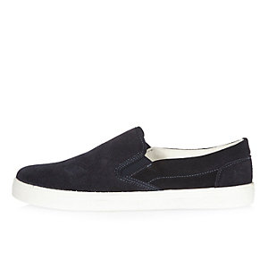 Navy suede slip on trainers
