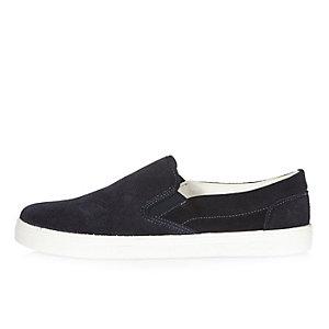 Marineblaue Wildleder-Sneaker