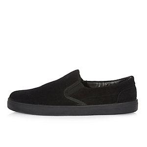 Black perforated suede slip on sneakers