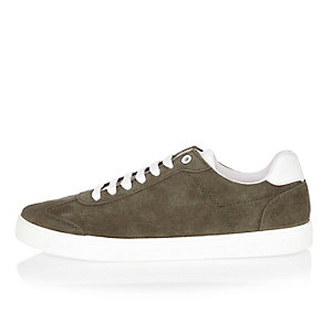 Dark green suede trainers