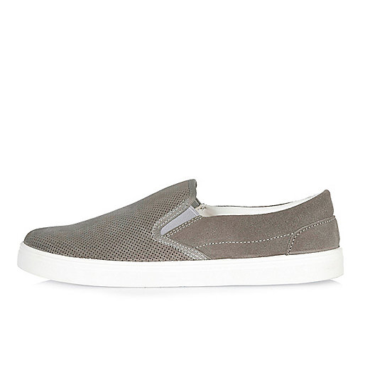 Light grey perforated suede plimsolls