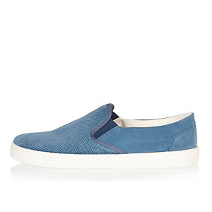 Light blue perforated suede plimsolls