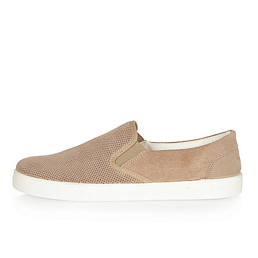 Stone perforated suede plimsolls