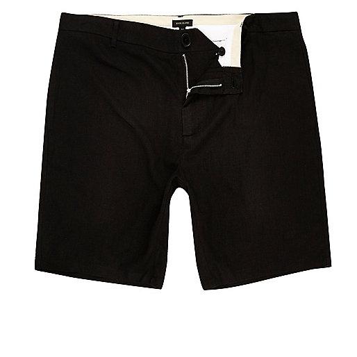 Black linen slim fit chino shorts