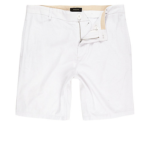 Short chino en lin blanc coupe slim