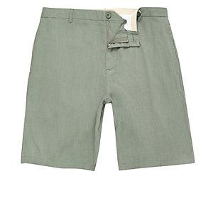 Green linen slim fit chino shorts