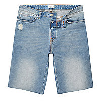 Light blue wash frayed denim shorts