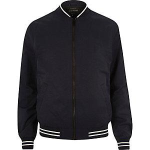 Navy tipped bomber jacket