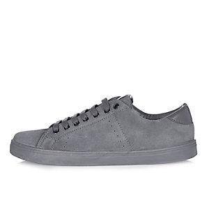 Dark grey tonal suede sneakers