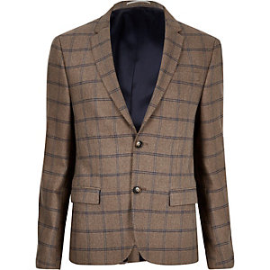 Ecru checked cropped skinny suit jacket