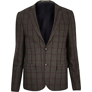 Grey checked cropped skinny suit jacket