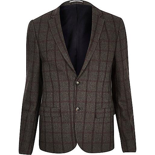 Veste de costume courte à carreaux grise coupe skinny