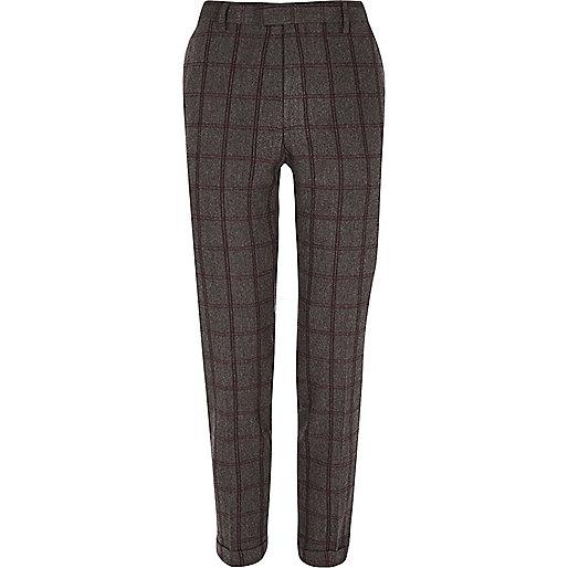 Pantalon de costume court à carreaux gris coupe skinny