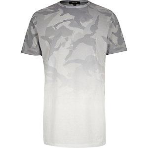 Grey faded print longline t-shirt