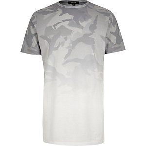 Grey faded print longline t-shirt