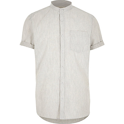 Grey waffle short sleeve grandad shirt