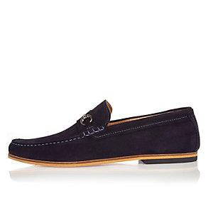 Navy suede snaffle loafers