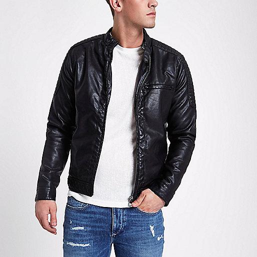 Black leather look racer jacket