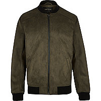 Green faux suede bomber jacket