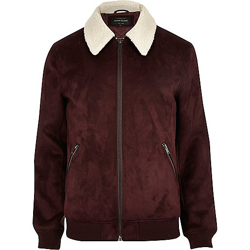Dark red faux suede borg collar jacket