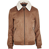 Tan faux suede fleece collar jacket