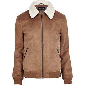Tan faux suede borg collar jacket