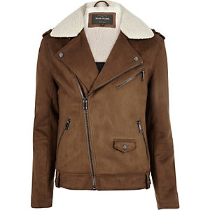 Light brown fleece collar biker jacket