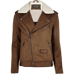 Light brown fleece collar biker jacket