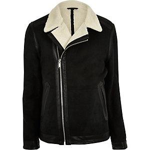 Black fleece lined biker jacket