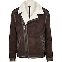 Dark brown borg lined biker jacket
