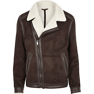 Dark brown fleece lined biker jacket