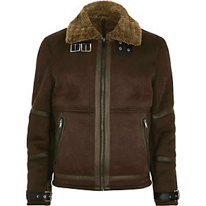 Dark brown shearling jacket