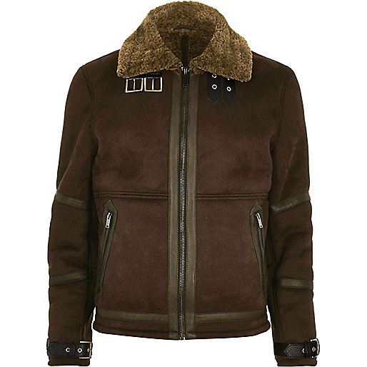 Dark brown shearling jacket