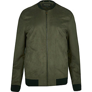 Green lightweight faux suede bomber jacket