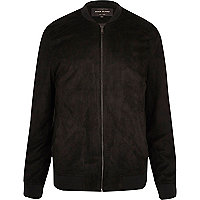 Black lightweight faux suede bomber jacket