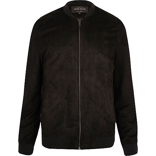 Black lightweight faux suede bomber jacket