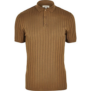 Light brown ribbed polo shirt