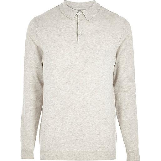 Stone long sleeve polo shirt