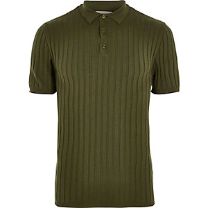 Dark green ribbed polo t-shirt