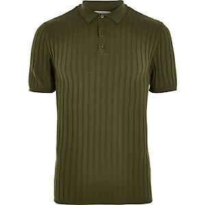 T-shirt polo côtelé vert foncé coupe près du corps