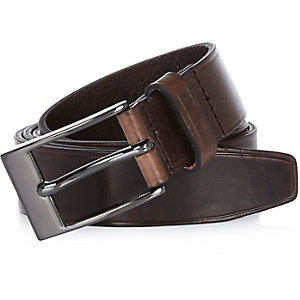 Dark brown Italian leather belt