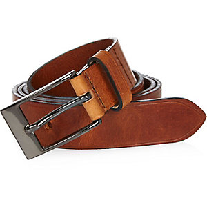 Light brown Italian leather belt