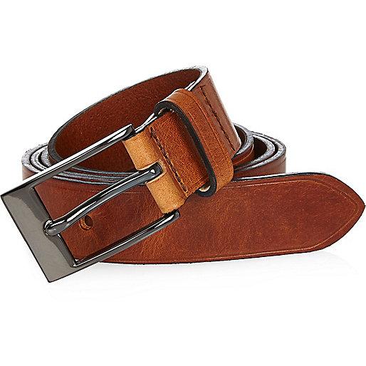 Light brown Italian leather belt