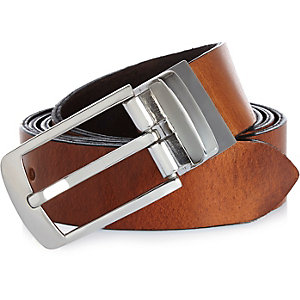 Brown reversible Italian leather belt